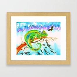Chameleon and Butterfly Framed Art Print