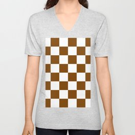 Large Checkered - White and Chocolate Brown Unisex V-Neck