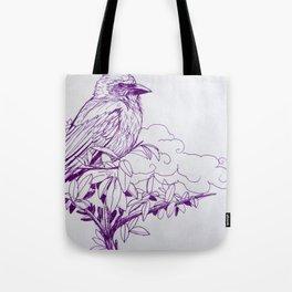 Purple Ink Bird Tote Bag