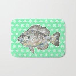 Bluegill and Green Wallpaper Design Bath Mat