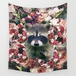 Cute Floral Raccoon Flower Wall Tapestry