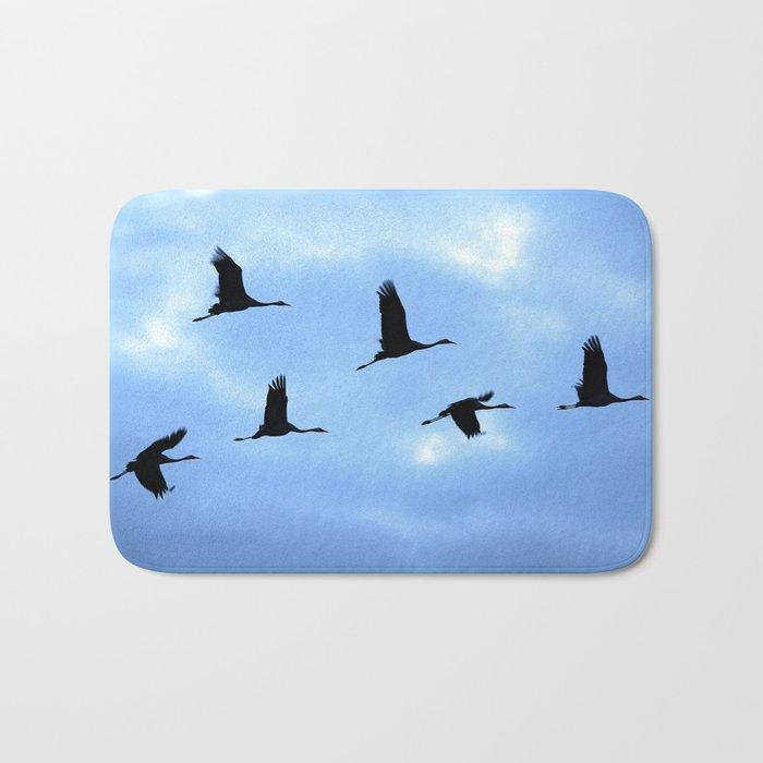 Welcome back! Cranes in flight #decor #society6 Bath Mat