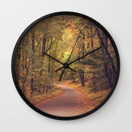 Empty New England Roads In Fall Wall Clock