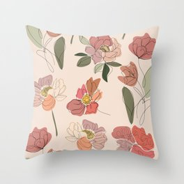 Modern Botanical Line Drawing Flower Pattern  Throw Pillow