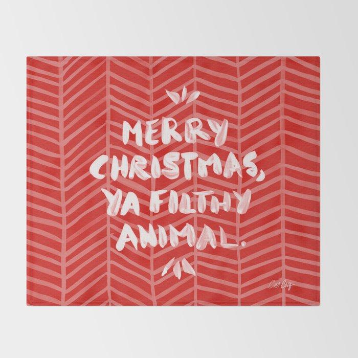 merry christmas ya filthy animal red throw blanket
