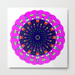 Mandala Bright City Scape in Pink Green Yellow Blue Metal Print