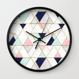 Mod Triangles - Navy Blush Mint Wall Clock