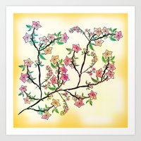 cherry blossoms Art Prints featuring Cherry Blossoms by famenxt