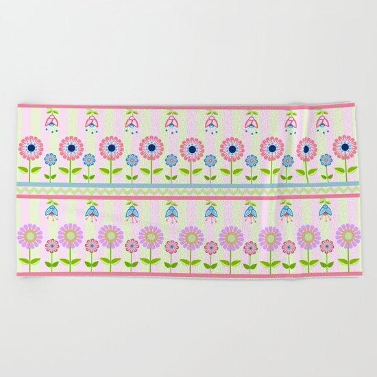 Decorative pastel flowers illustration Beach Towel