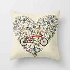 I Love Brompton Bikes Throw Pillow