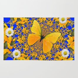 BUTTERFLY GREEN FROGS WHITE DAISIES BLUE MANDALA Rug