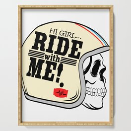"A Cool Motocross Tee For Riders ""Hi Girl Ride With Me!"" Illustration Of A Helmet T-shirt Design Serving Tray"
