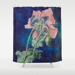 French Poppy - Vintage Botanical Illustration Collage Shower Curtain