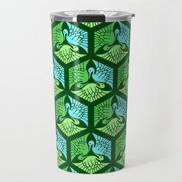 Japanese Cranes, Jade Green and Light Blue Travel Mug