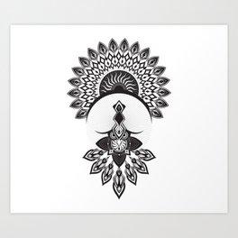 Owl Dreamcatcher w/ Native American Head Dress Art Print