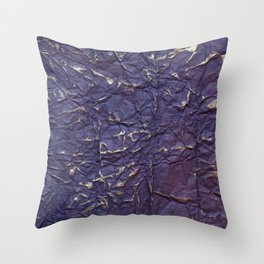 Antique shabby vintage purple creased paper Throw Pillow