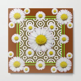 Modern Coffee Brown Deco Style Shasta Daisies Art Metal Print