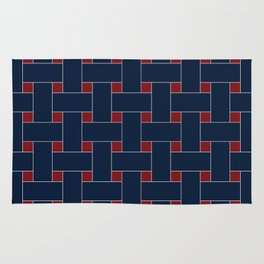 Basket Weave Navy and Red Rug