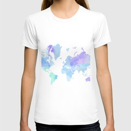 BLUE WATERCOLOR TRAVEL MAP T-shirt