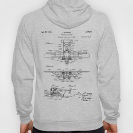 Seaplane Patent - Biwing Seaplane Art - Black And White Hoody