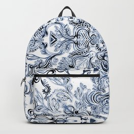 Indigo, Navy Blue and White Calligraphy Doodle Pattern Backpack