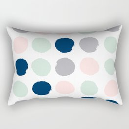 Trendy color palette minimal painted dots polka dot minimalist pink mint grey navy Rectangular Pillow