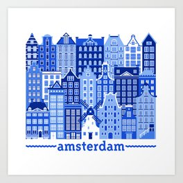 Amsterdam in Delft Blue Art Print