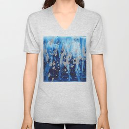 Blue waterfall encaustic painting Unisex V-Neck