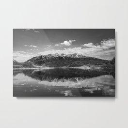 Twin Lakes - Mount Elbert at Twin Lakes Colorado in Black and White Metal Print