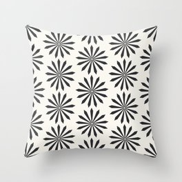 Black snowflake on light beige pattern Throw Pillow