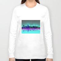 new york skyline Long Sleeve T-shirts featuring New York skyline by Bekim ART
