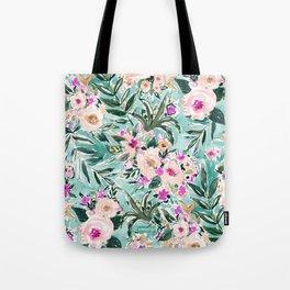 JUNGLE ROMANCE Mint Blush Tropical Floral Tote Bag