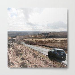 Mini Driving through the Yorkshire Dales Metal Print