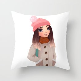 teenager wearing warm winter clothes Throw Pillow