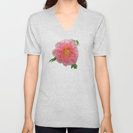 Pink Peony Flower Drawing Unisex V-Neck