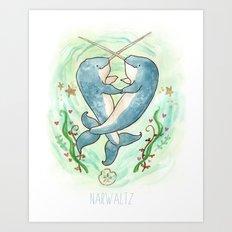 Narwaltz - Narwhal Valentine Art Print