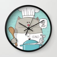 chef Wall Clocks featuring Chef cat, chef hat, ZWD009S6 by ZeeWillDraw