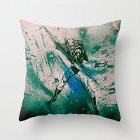 green arrow Throw Pillows featuring GREEN ARROW by Zorio