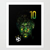 neymar Art Prints featuring NEYMAR JR by dan elijah g. fajardo