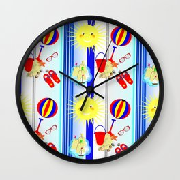 Summertime Seaside Happy Days Colorful Pattern Wall Clock