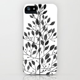 black sprig drawn in ink iPhone Case