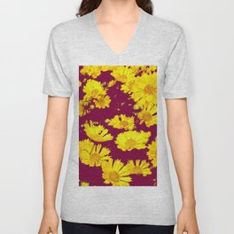 BURGUNDY-YELLOW  FLORAL COREOPSIS  PATTERN ART Unisex V-Neck