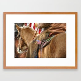 A cowboy and the American flag. Framed Art Print