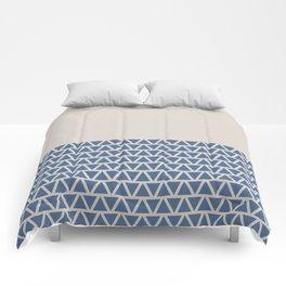 Triangles Half Pattern (Riverside Blue, Cream) Comforters