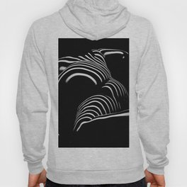 0758-AR BW Abstract Art Nude Striped Hoody