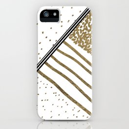 Geometrical white faux gold black stripes polka dots iPhone Case