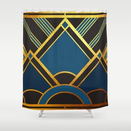Art Deco New Tomorrow In Blue Shower Curtain