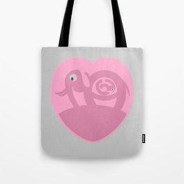 Pregnant Elephant Heart Tote Bag