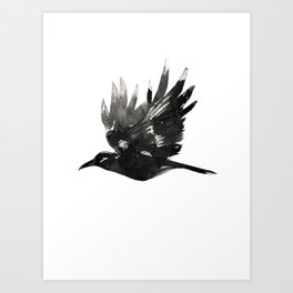 Crow Wings Up Art Print