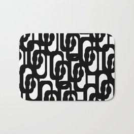 Black and White Mid-century Modern Loop Pattern Bath Mat